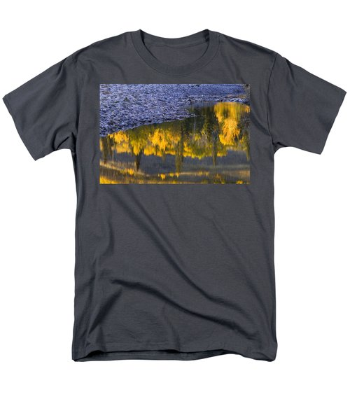 Water Reflections With A Rocky Shoreline T-Shirt by Carson Ganci