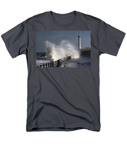 Waves Crashing By Lighthouse At T-Shirt by John Short