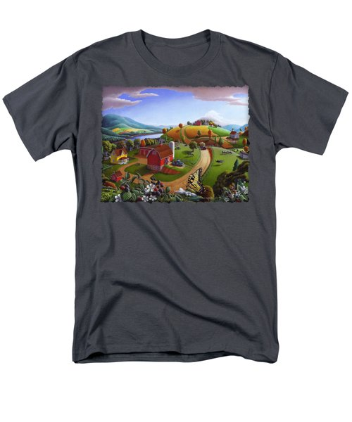 Folk Art Blackberry Patch Rural Country Farm Landscape Painting - Blackberries Rustic Americana Men's T-Shirt  (Regular Fit) by Walt Curlee