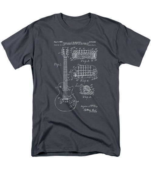 1955 Mccarty Gibson Les Paul Guitar Patent Artwork - Gray Men's T-Shirt  (Regular Fit) by Nikki Marie Smith