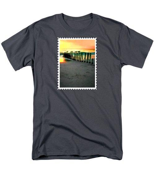 Sea Gulls On Pilings  At Sunset Men's T-Shirt  (Regular Fit) by Elaine Plesser