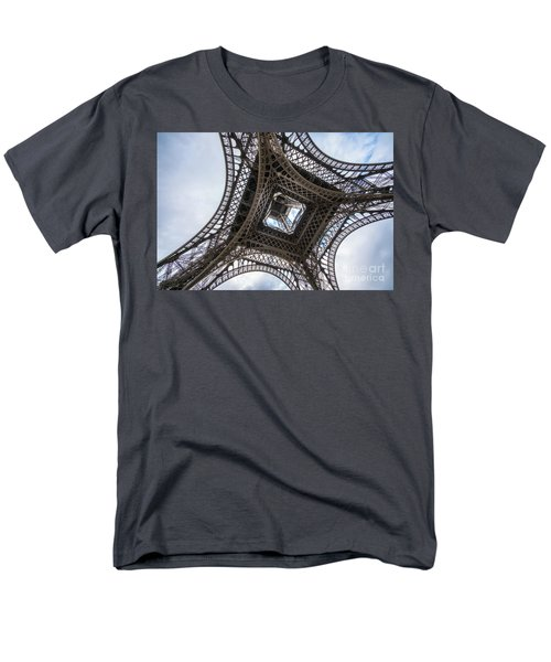 Abstract Eiffel Tower Looking Up 2 Men's T-Shirt  (Regular Fit) by Mike Reid