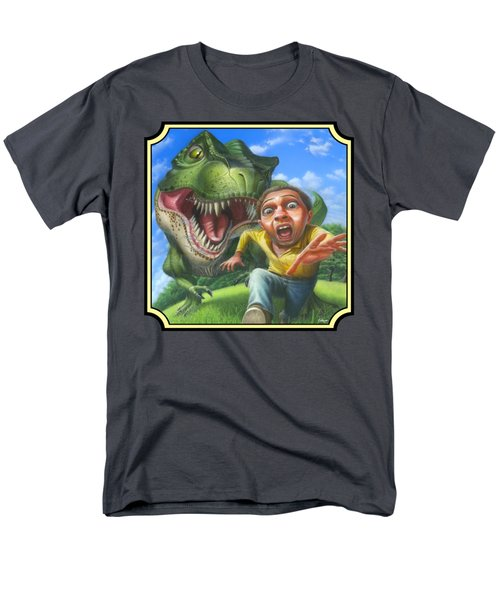 Tyrannosaurus Rex Jurassic Park Dinosaur - T Rex - T Rex - Extinct Predator - Square Format Men's T-Shirt  (Regular Fit) by Walt Curlee