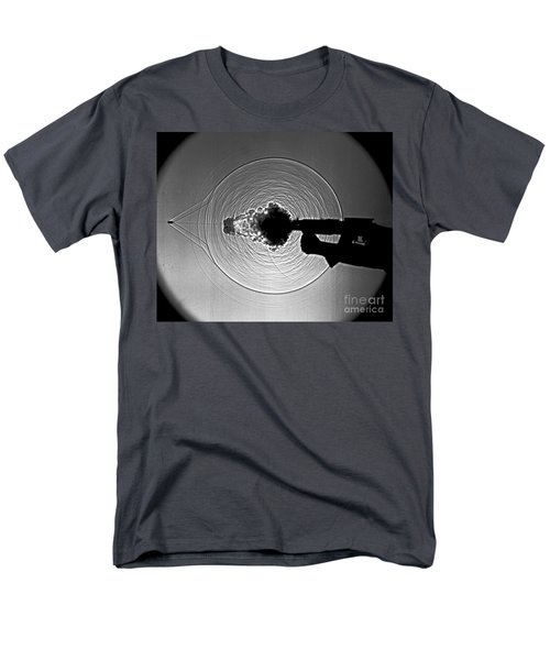Black and White Gun Firing Shadowgram T-Shirt by Garry S Settles and Photo Researchers