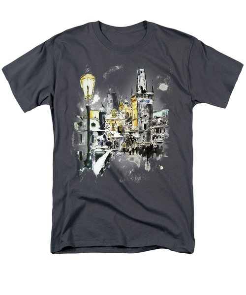 Charles Bridge In Winter Men's T-Shirt  (Regular Fit) by Melanie D