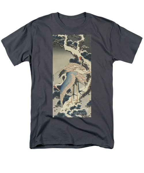 Cranes On Pine Men's T-Shirt  (Regular Fit) by Hokusai