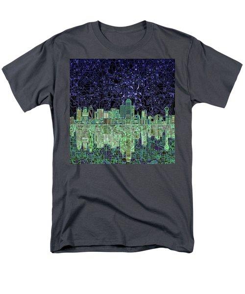 Dallas Skyline Abstract 4 Men's T-Shirt  (Regular Fit) by Bekim Art