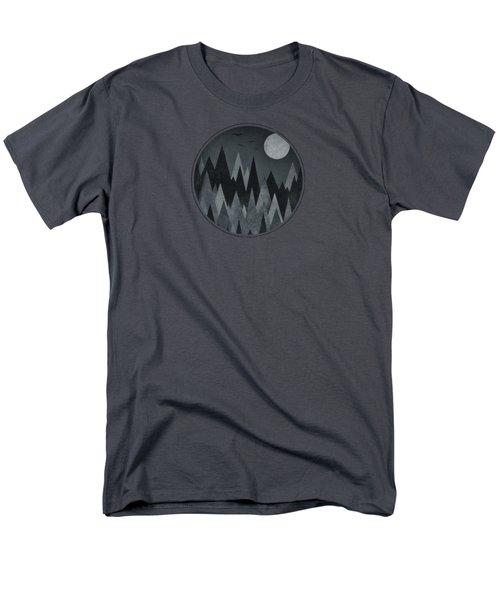 Dark Mystery Abstract Geometric Triangle Peak Woods Black And White Men's T-Shirt  (Regular Fit) by Philipp Rietz