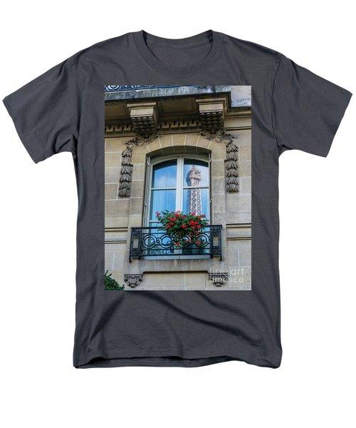 Eiffel Tower Paris Apartment Reflection Men's T-Shirt  (Regular Fit) by Mike Reid