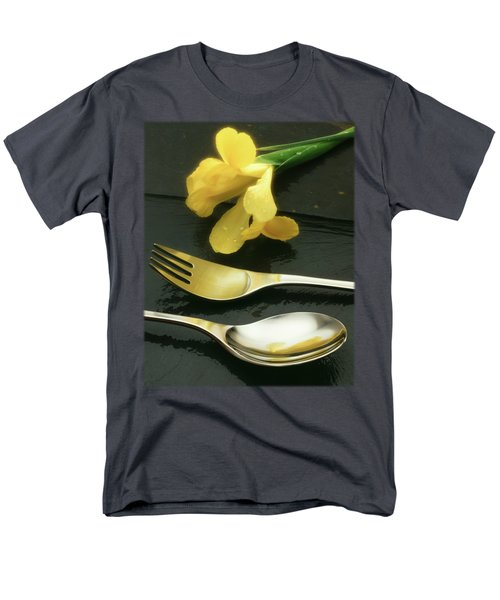 Flowers On Slate Men's T-Shirt  (Regular Fit) by Jon Delorme
