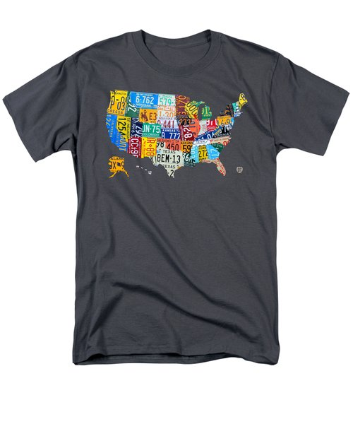 License Plate Map Of The United States Men's T-Shirt  (Regular Fit) by Design Turnpike