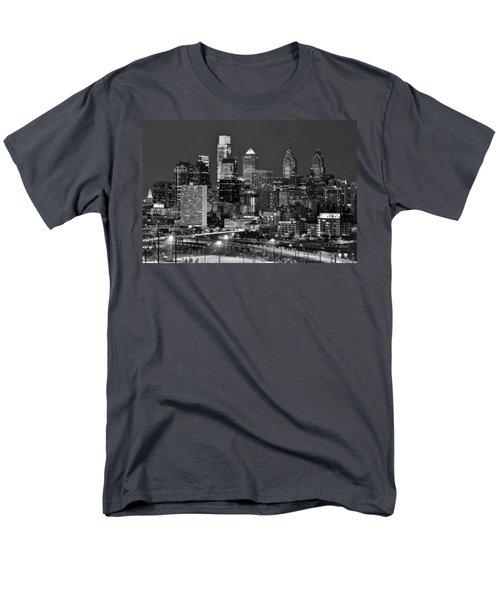 Philadelphia Skyline At Night Black And White Bw  Men's T-Shirt  (Regular Fit) by Jon Holiday