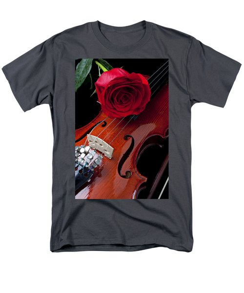 Red Rose With Violin T-Shirt by Garry Gay