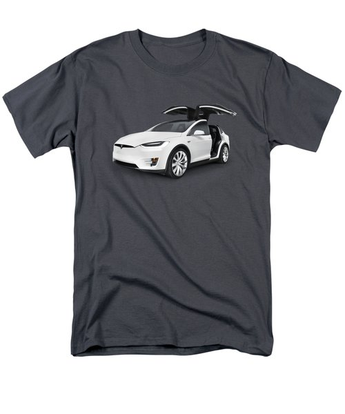 Tesla Model X Luxury Suv Electric Car With Open Falcon-wing Doors Art Photo Print Men's T-Shirt  (Regular Fit) by Oleksiy Maksymenko