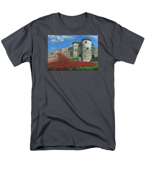 Tower Of London Poppies - Blood Swept Lands And Seas Of Red  Men's T-Shirt  (Regular Fit) by Richard Harpum