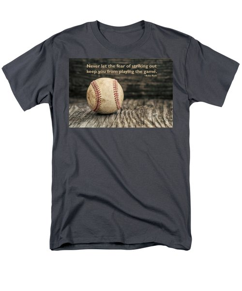 Vintage Baseball Babe Ruth Quote Men's T-Shirt  (Regular Fit) by Terry DeLuco