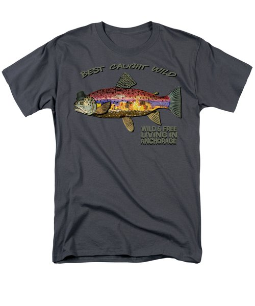 Wild And Free In Anchorage-trout With Hat Men's T-Shirt  (Regular Fit) by Elaine Ossipov