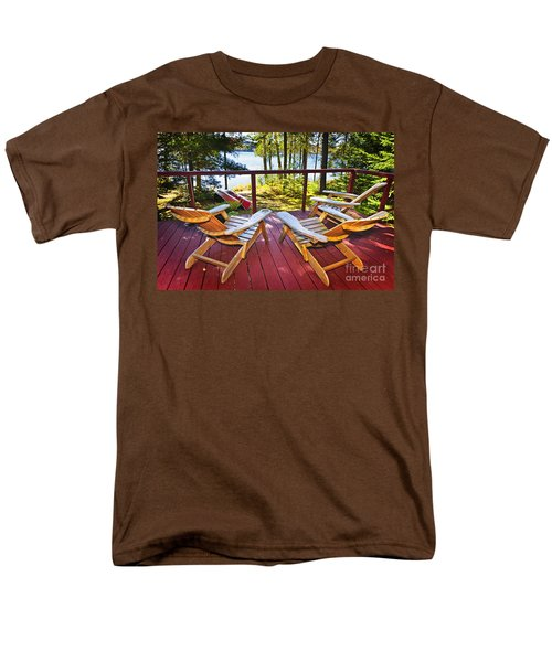 Forest cottage deck and chairs T-Shirt by Elena Elisseeva