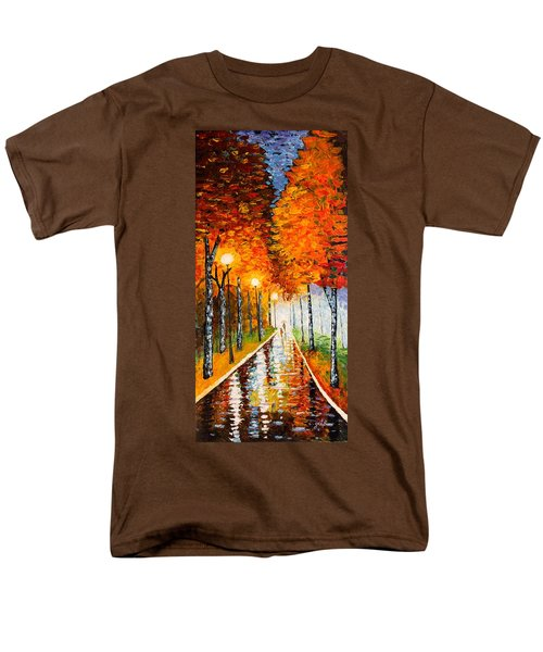 Autumn Park Night Lights palette knife T-Shirt by Georgeta  Blanaru