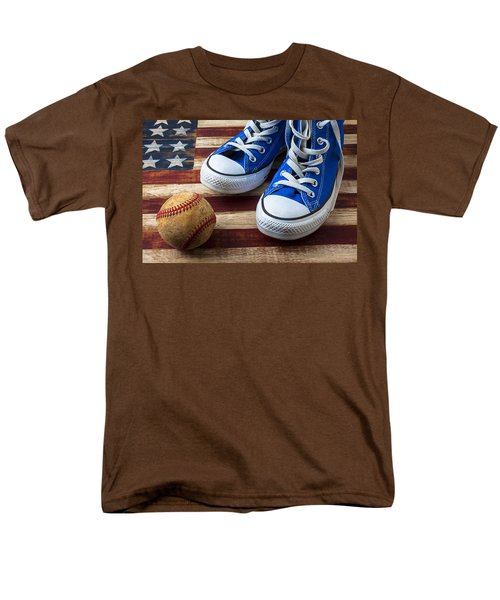 Blue tennis shoes and baseball T-Shirt by Garry Gay