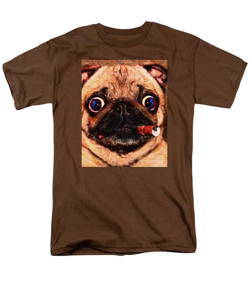 Cigar Puffing Pug - Painterly T-Shirt by Wingsdomain Art and Photography