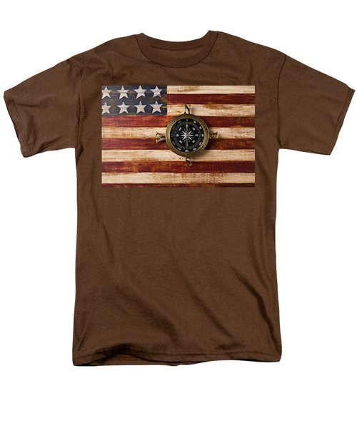 Compass on wooden folk art flag T-Shirt by Garry Gay