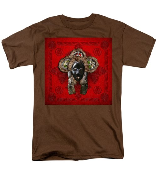 Dan Dean-Gle Mask of the Ivory Coast and Liberia on Red Leather T-Shirt by Serge Averbukh