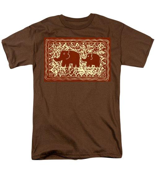 Elephant and calf lino print brown T-Shirt by Julie Nicholls