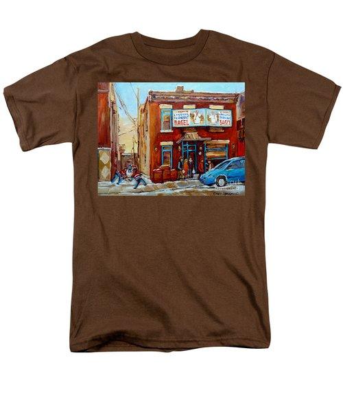 FAIRMOUNT BAGEL IN WINTER MONTREAL CITY SCENE T-Shirt by CAROLE SPANDAU