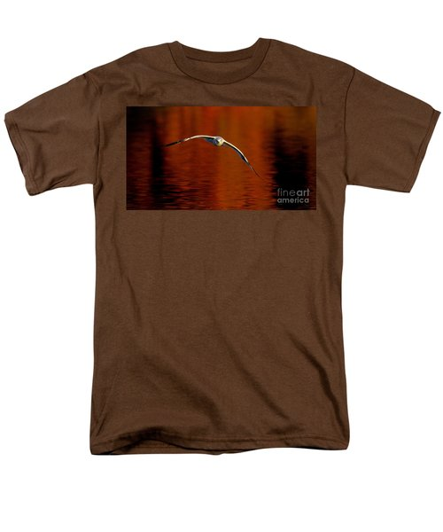 Flying Gull On Fall Color T-Shirt by Robert Frederick