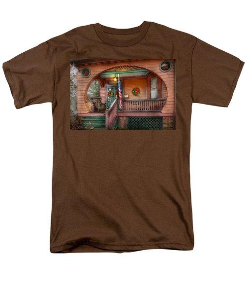 House - Porch - Metuchen NJ - That yule tide spirit T-Shirt by Mike Savad