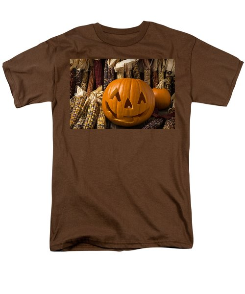 Jack-O-lantern and Indian corn  T-Shirt by Garry Gay