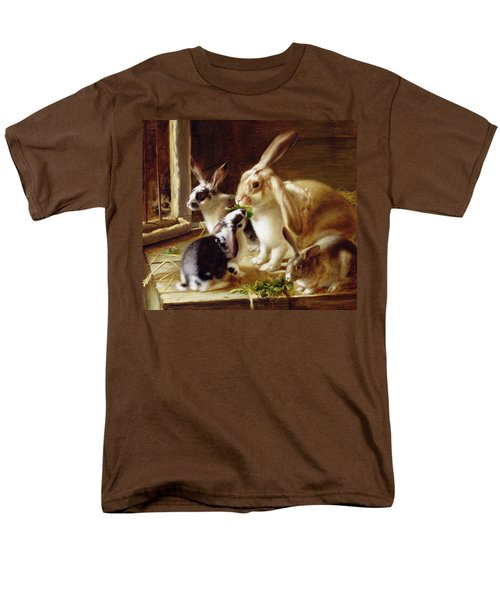 Long-eared Rabbits In A Cage Watched By A Cat Men's T-Shirt  (Regular Fit) by Horatio Henry Couldery