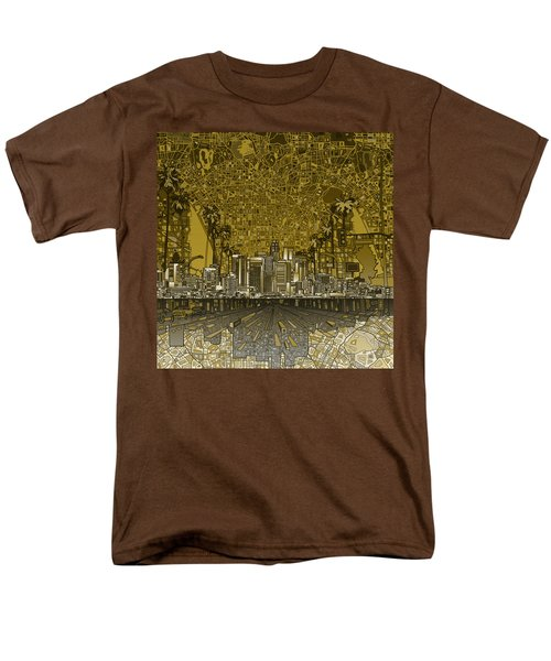 Los Angeles Skyline Abstract 4 Men's T-Shirt  (Regular Fit) by Bekim Art