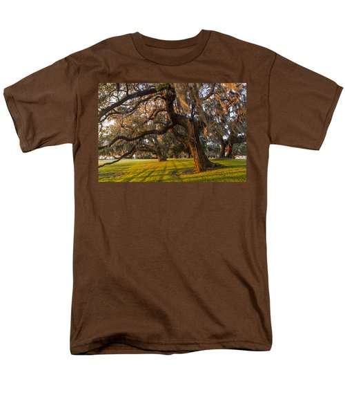 Mossy Trees at Sunset T-Shirt by Debra and Dave Vanderlaan