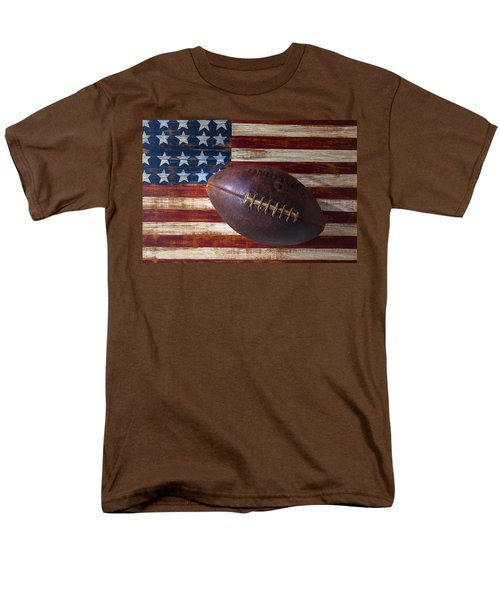 Old Football On American Flag T-Shirt by Garry Gay