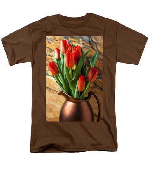 Orange tulips in copper pitcher T-Shirt by Garry Gay