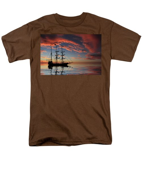 Pirate Ship at Sunset T-Shirt by Shane Bechler