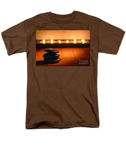 Stone Cairn and Candles for Quiet Meditation T-Shirt by Olivier Le Queinec