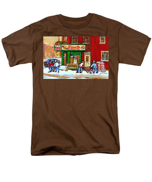 VERDUN HOCKEY GAME CORNER LANDMARK RESTAURANT DEPANNEUR PIERRETTE PATATE WINTER MONTREAL CITY SCEN T-Shirt by CAROLE SPANDAU