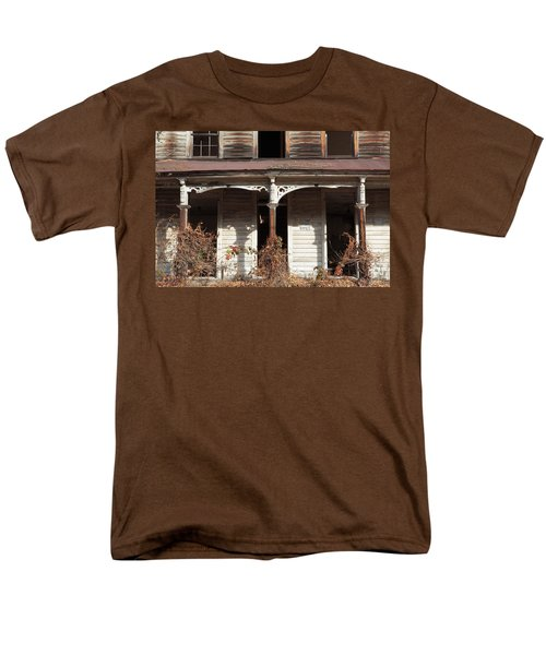 Abandoned House Facade Rusty Porch Roof T-Shirt by John Stephens