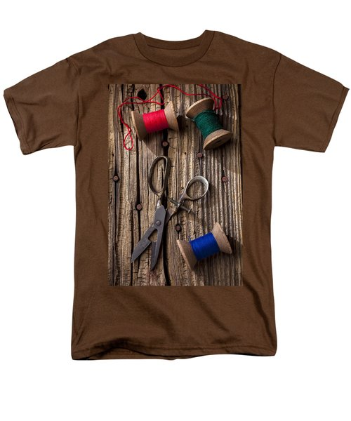 Old scissors and spools of thread T-Shirt by Garry Gay