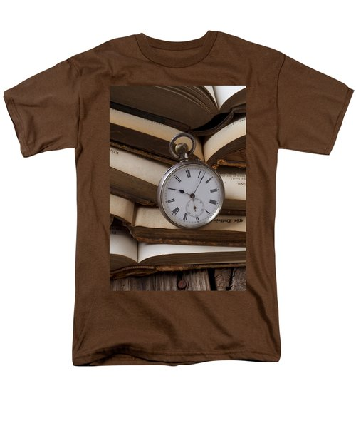 Pocket watch on pile of books T-Shirt by Garry Gay