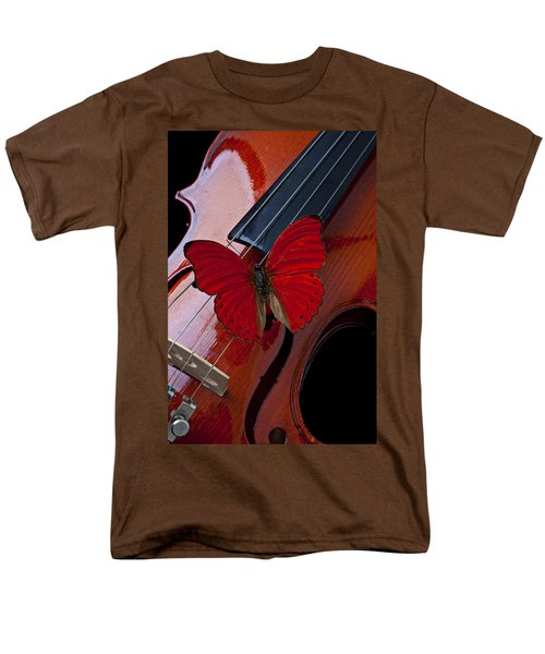 Red Butterfly On Violin T-Shirt by Garry Gay