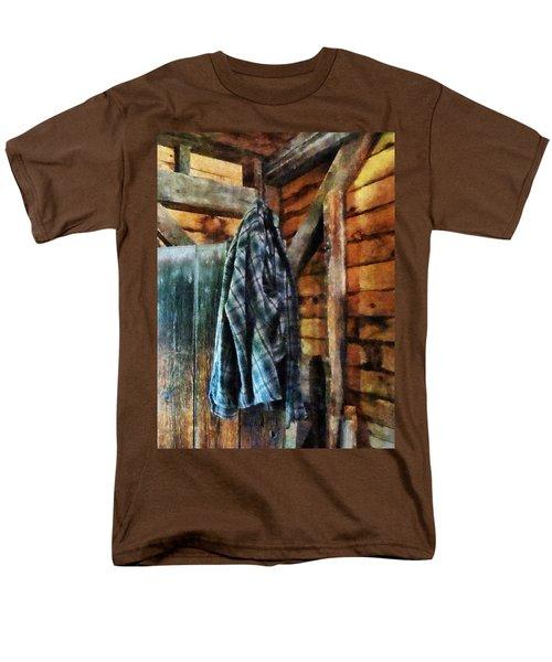 Blue Plaid Jacket in Cabin T-Shirt by Susan Savad