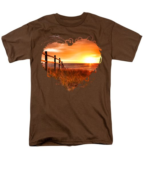 Door County Europe Bay Fence Sunrise Men's T-Shirt  (Regular Fit) by Christopher Arndt
