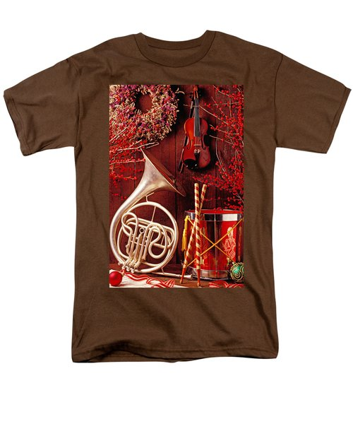 French horn Christmas still life T-Shirt by Garry Gay