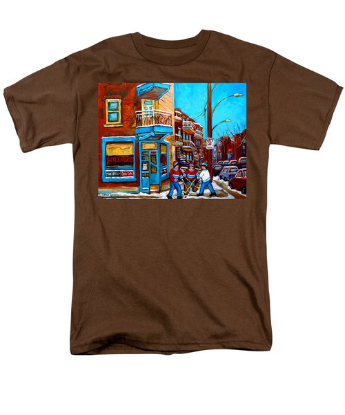 MONTREAL CITY SCENE HOCKEY AT WILENSKYS T-Shirt by CAROLE SPANDAU