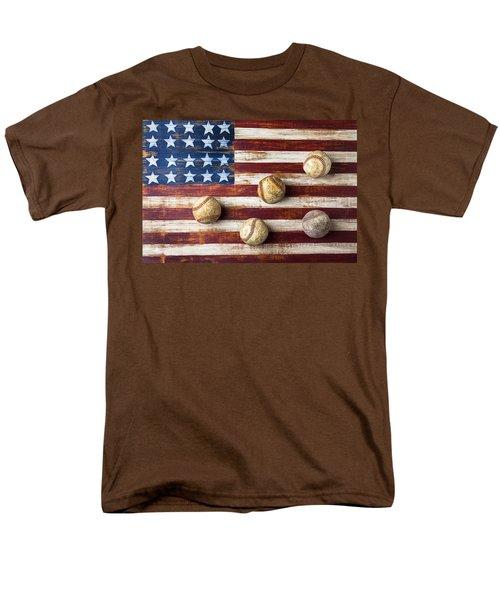Old baseballs on folk art flag T-Shirt by Garry Gay