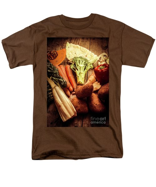 Raw Vegetables On Wooden Background Men's T-Shirt  (Regular Fit) by Jorgo Photography - Wall Art Gallery